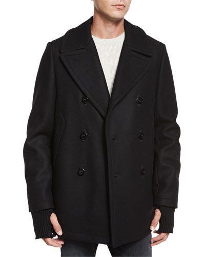 Reefing Double-Breasted Wool Peacoat & Textured Cashmere Crewneck Sweater