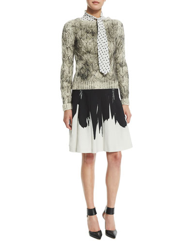 Long-Sleeve Crochet Sweater, Long-Sleeve Dot-Print Blouse & Two-Tone A-Line Skirt