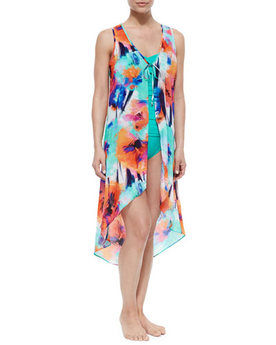 Floral-Print Kimono Coverup Dress & Gathered Bandeau One-Piece Swimsuit