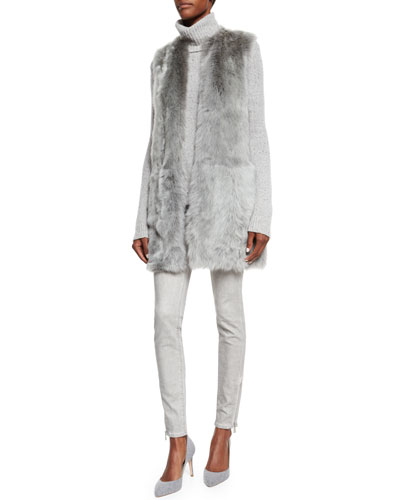 Long Shearling Fur Vest, Turtleneck Cashmere Sweater & Mid-Rise Matchstick Jeans