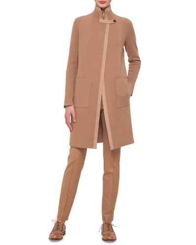 Reversible Contrast-Trimmed Cashmere Coat & Melissa Stretch Flannel Pleated Slim Pants
