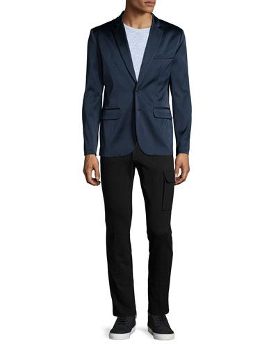 Satin Two-Button Blazer, Slub-Knit Crewneck Tee & Slim-Fit Stretch Cargo Pants