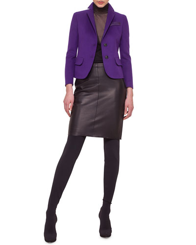 Double-Faced Cashmere Blazer, Sleeveless Sheer-Inset Pullover Top & Napa Leather Pencil Skirt