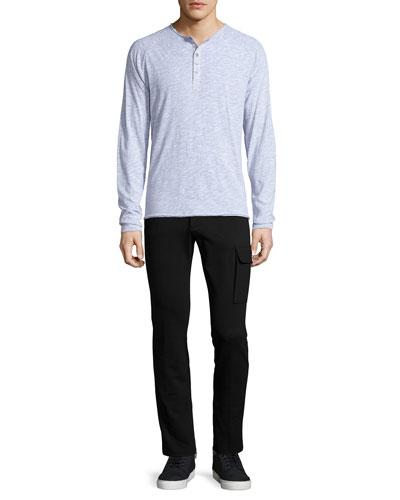 Raglan-Sleeve Slub Henley Shirt & Slim-Fit Stretch Cargo Pants