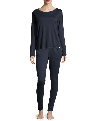 Margot Long-Sleeve Dolman Tee & Slim-Leg Lounge Pants