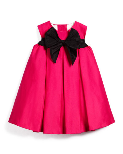 Pleated Sateen Shift Dress, Fuchsia