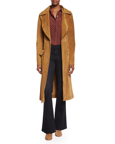 Le Duster Mid-Length Coat, Le Classic Dot-Print Silk Shirt & Le High Flare Jeans