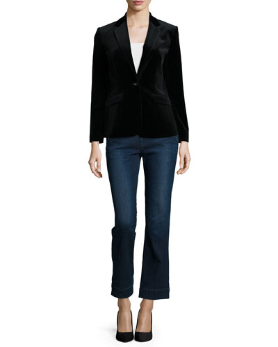 Le Velvet Slim-Fit Blazer, Le Sleeveless Neck-Tie Shirt & Le Slim Straight Cropped Denim Jeans