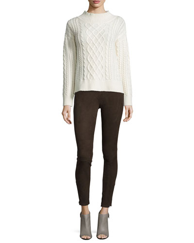 Long-Sleeve Cable Sweater & Le Suede Leggings
