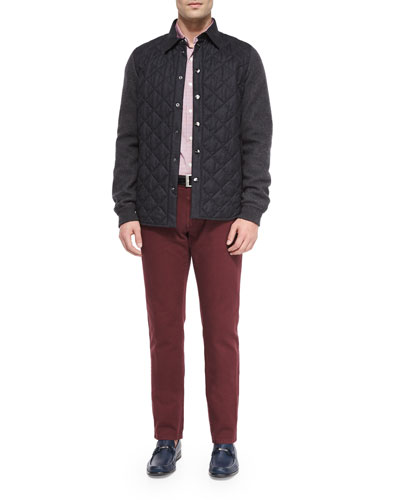 Quilted Flannel Button-Down Jacket, Contrast-Collar Plaid Woven Shirt & Five-Pocket Cotton Pants