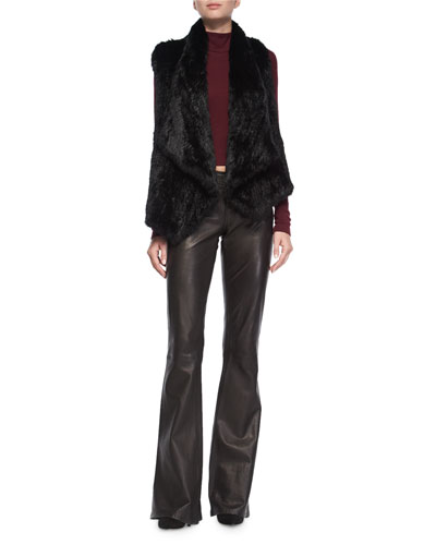 Harriet Rabbit-Fur Vest, Garrison Cropped Top & Leather Flare-Leg Pants