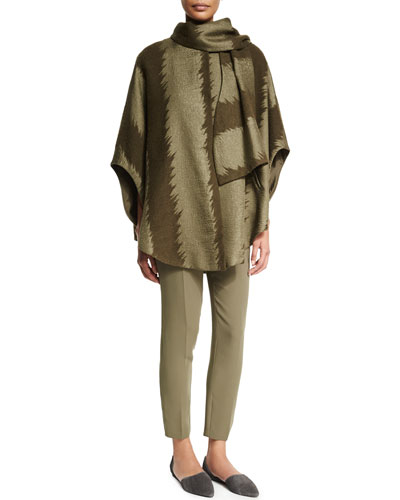 Wide-Striped Poncho W/Scarf, 3/4-Sleeve Silk Spiral Top & Slim-Leg Silk Ankle Pants, Army