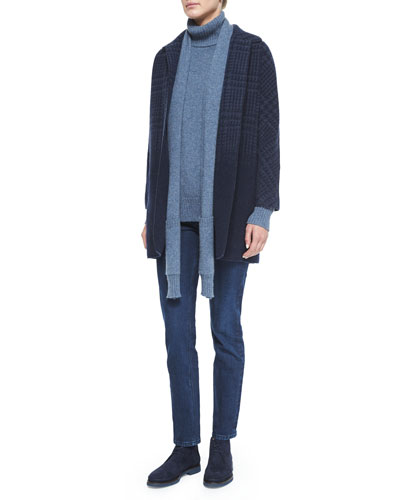 Degrade Houndstooth Cashmere Coat, Dolcevita Cashmere Detachable-Scarf Turtleneck Sweater & Washed Stretch Denim Jeans