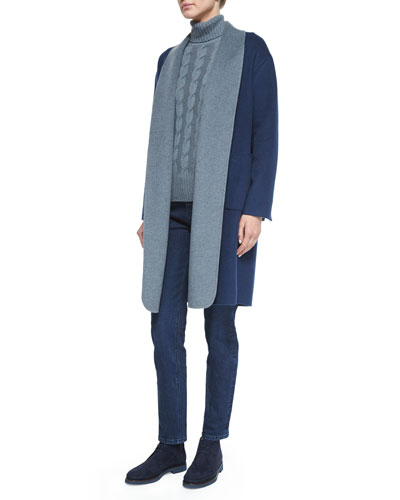 Belted Double-Faced Cashmere Coat, Cashmere Cable Knit Turtleneck Sweater & Washed Stretch Denim Jeans