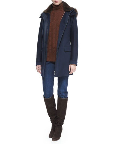 Roger Storm System Fur-Trimmed Cashmere Woven Coat, Cashmere Cable Knit Turtleneck Sweater & Washed Stretch Denim Jeans