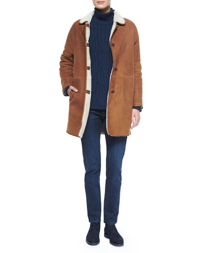 Spencer Shearling Fur Coat, Funnel-Neck Twist Knit Sweater & Washed Stretch Denim Jeans