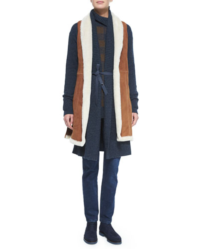 Shearling Fur Vest W/Side Vents, Belted Shawl-Collar Cashmere Cardigan, Gingham Check Cashmere Sweater & Washed Stretch Denim Jeans