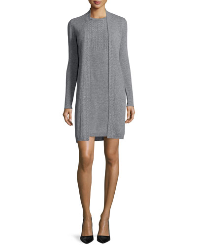 Long-Sleeve Cable-Knit Trim Cashmere Duster & Sleeveless Cable-Knit Cashmere Dress
