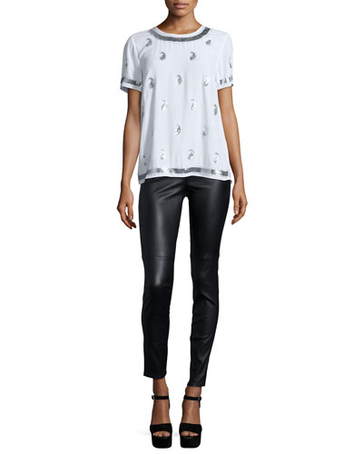 Short-Sleeve Embellished Tee & Stretch Leather Leggings