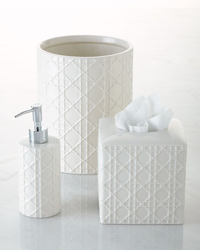 Cane Embossed Porcelain Vanity Accessories