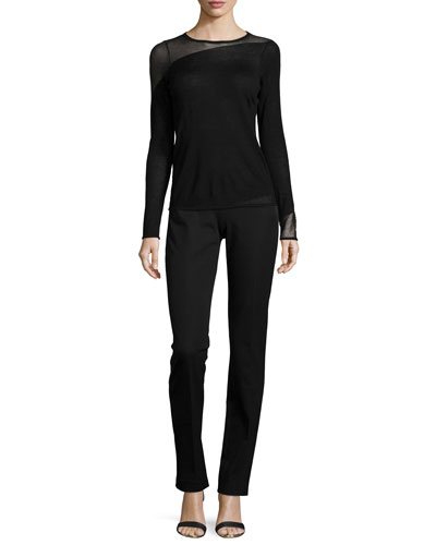 Kira Long-Sleeve Sheer-Inset Wool Sweater & Rae Slim Zip-Pocket Pants