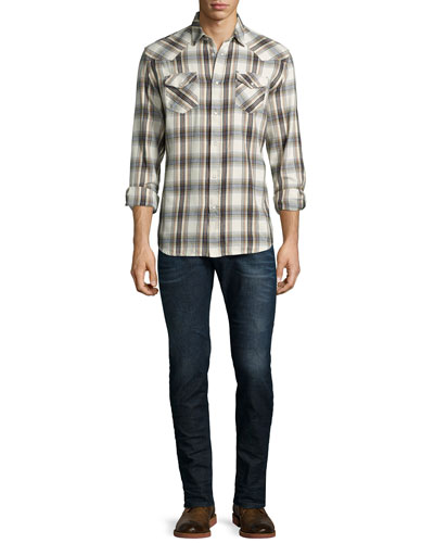 Check Long-Sleeve Flannel Shirt & Sleenker Skinny-Leg Denim Jeans