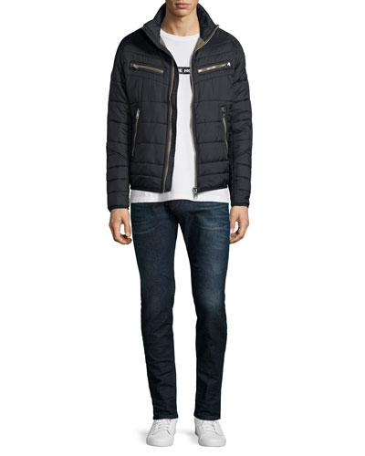 Nylon Padded Jacket, Take Me Home Graphic Tee & Sleenker Skinny-Leg Denim Jeans