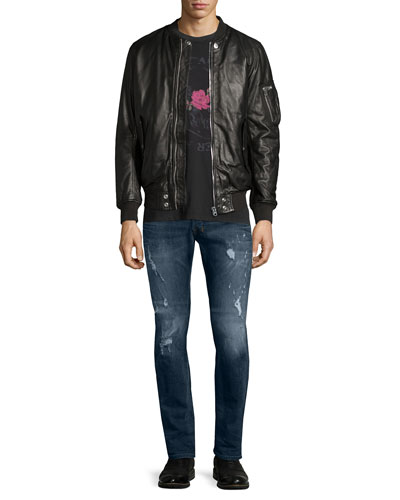 Leather Bomber Jacket, Skull & Rose Graphic Short-Sleeve Tee & Safado Distressed Straight-Leg Jeans
