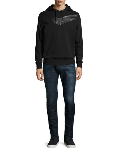 Pullover Hoodie with Leather Insert & Sleenker Skinny-Leg Denim Jeans