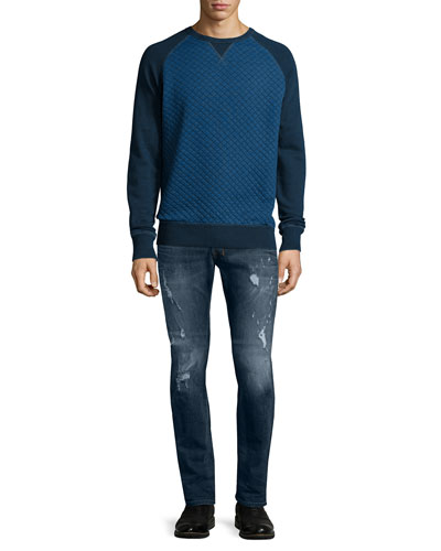 Quilted Fleece Crewneck Sweater & Safado Distressed Straight-Leg Jeans