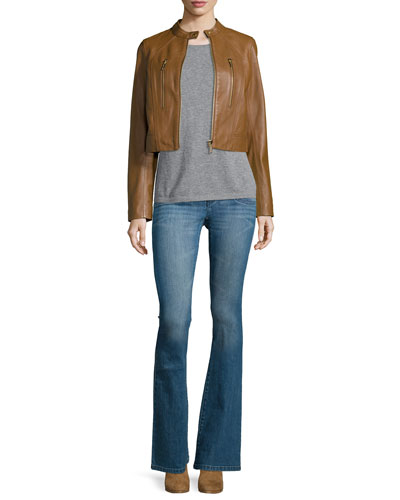 Paneled Lambskin Leather Jacket & High-Waist Flare-Leg Denim Jeans