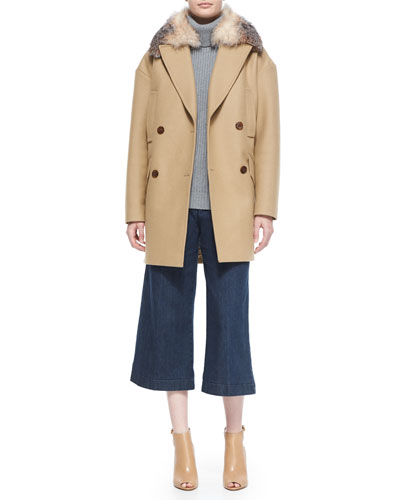Oversized Tailored Coat W/ Fur Collar & Denim Culottes