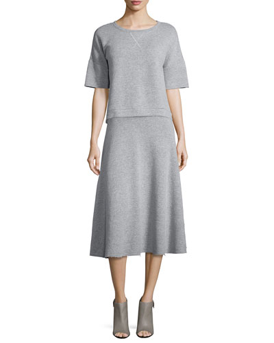 Le Cropped Elbow-Sleeve Sweatshirt & Le Midi A-Line Skirt, Gris