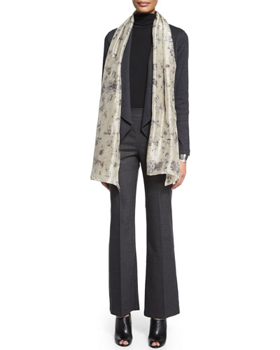 Mini Check Shaped Jacket, Scrunch-Neck Long-Sleeve Top, Rose Petal Silk Scarf & Stretch Twill Boot-Cut Trousers