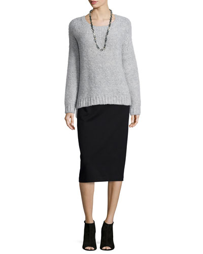 Fluffy Alpaca Box Top & High-Waist Ponte Pencil Skirt