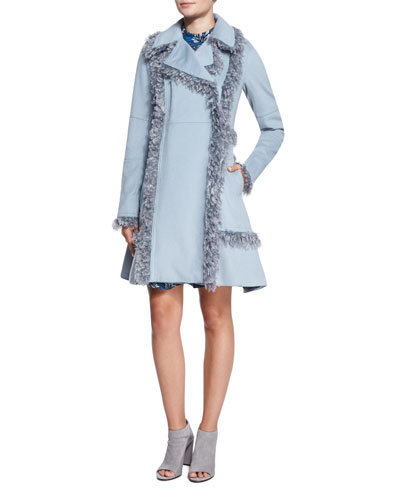Melton Faux-Fur-Trim Wool-Blend Peacoat & Sleeveless Mystic Floral Flare-Hem Dress