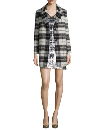 plaid mohair-blend bow-back coat & short-sleeve sequined plaid shift dress