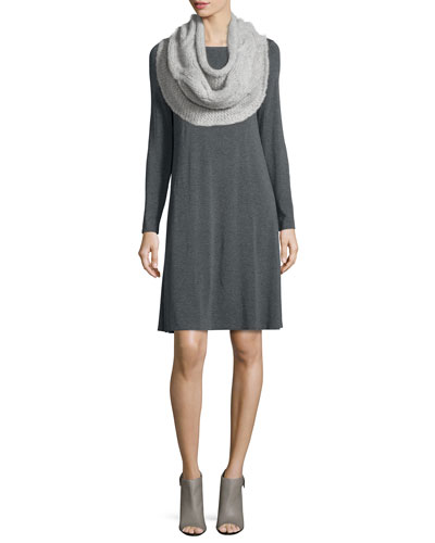 Long-Sleeve Jersey Dress & Fluffy Alpaca Cloud Infinity Scarf, Petite