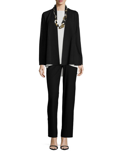 Washable Wool Crepe Cardigan, Silk Jersey Long Slim Camisole & Modern Wide-Leg Pants, Petite