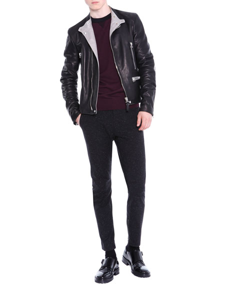 Lanvin Asymmetric-Zip Leather Moto Jacket, Black