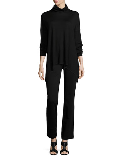 Long Merino Turtleneck Top & Boot-Cut Ponte Pants, Women's
