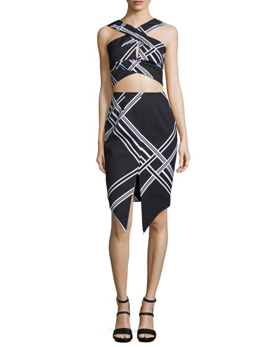 Tainted Romance Wrap-Front Crop Top & Pencil Skirt