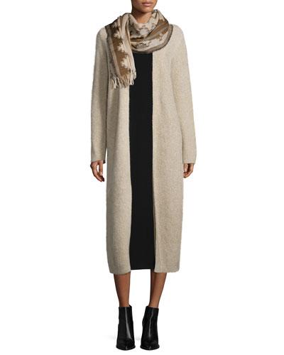 Fisher Project Plush Maxi Cardigan, Sleeveless Jersey Long Dress & Wool Interval Jacquard Scarf