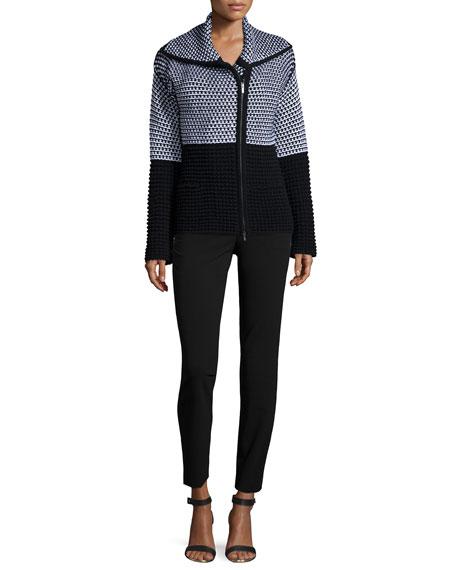 Armani CollezioniColorblock Popcorn Knit Zip Sweater, Black/White