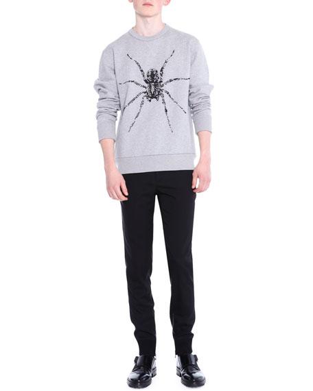 Lanvin Ankle-Zip Flat-Front Biker Pants, Black