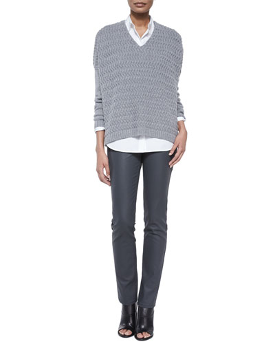 Wave-Stitch Sweater, Brody Long-Sleeve Blouse & Wax Denim Curvy Slim-Leg Jeans