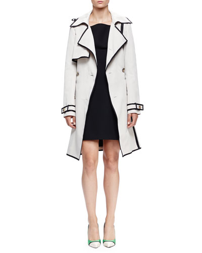 Woven Double-Breasted Trenchcoat & Tapered Wide-Strap Sheath Dress