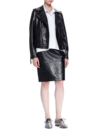 Grommet-Detailed Leather Jacket, Short-Sleeve Oversized Poplin Shirt & Studded Leather Pencil Skirt