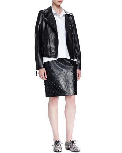 Grommet-Detailed Leather Jacket, Short-Sleeve Oversized Poplin Shirt & Studded Leather Pencil Skirt