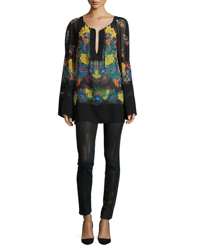 Multi-Floral-Print Tunic & Metallic Coated Skinny Jeans